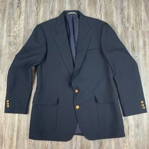 Haggar Navy Blue Button Front Sport Coat Blazer